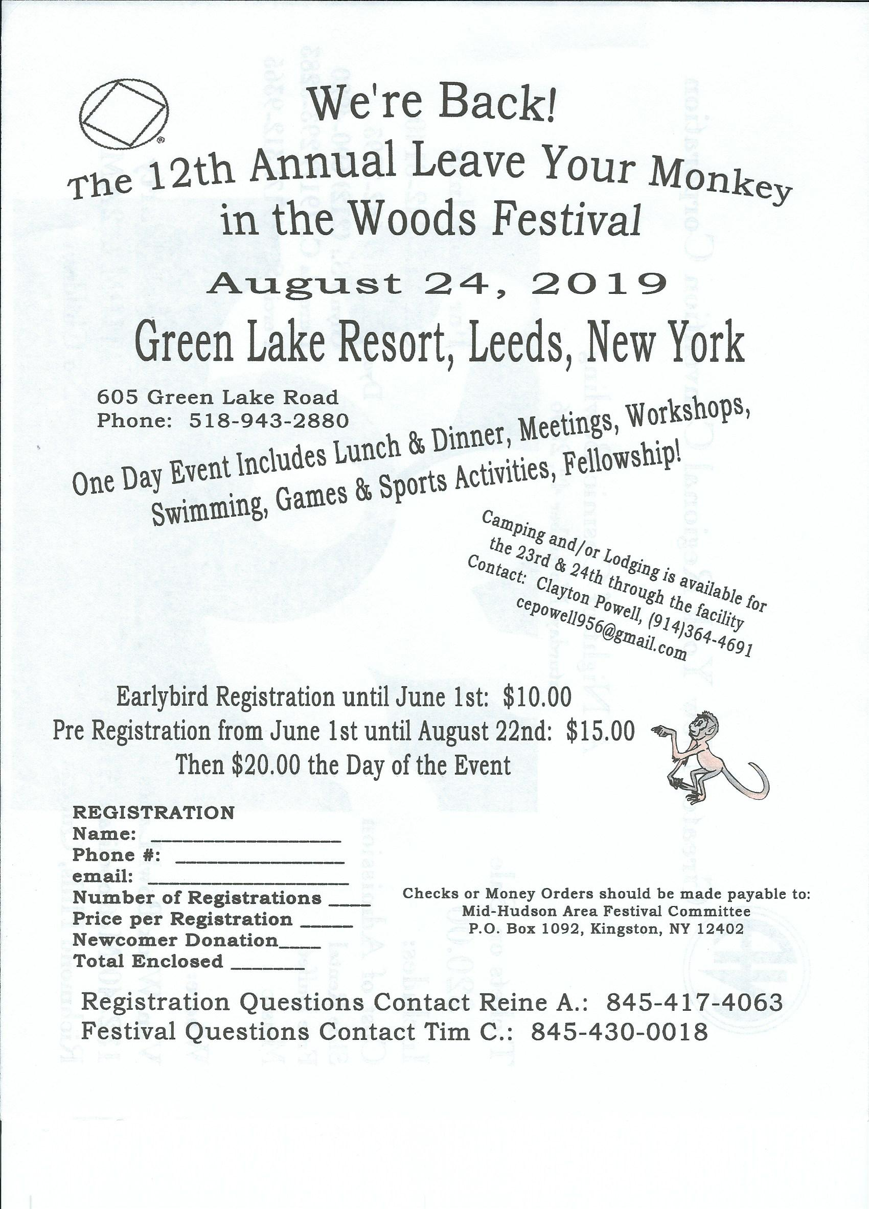 12th Annual Leave Your  Monkey in the Woods @ Green Lake Resort | Catskill | New York | United States
