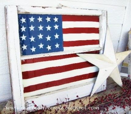 Patriodic American Flag painted window