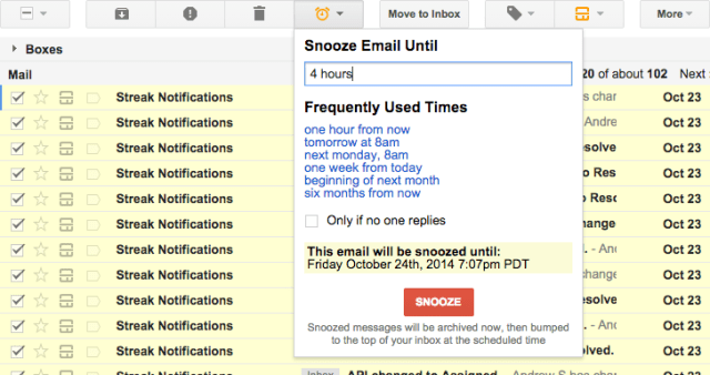 streak - email snooze