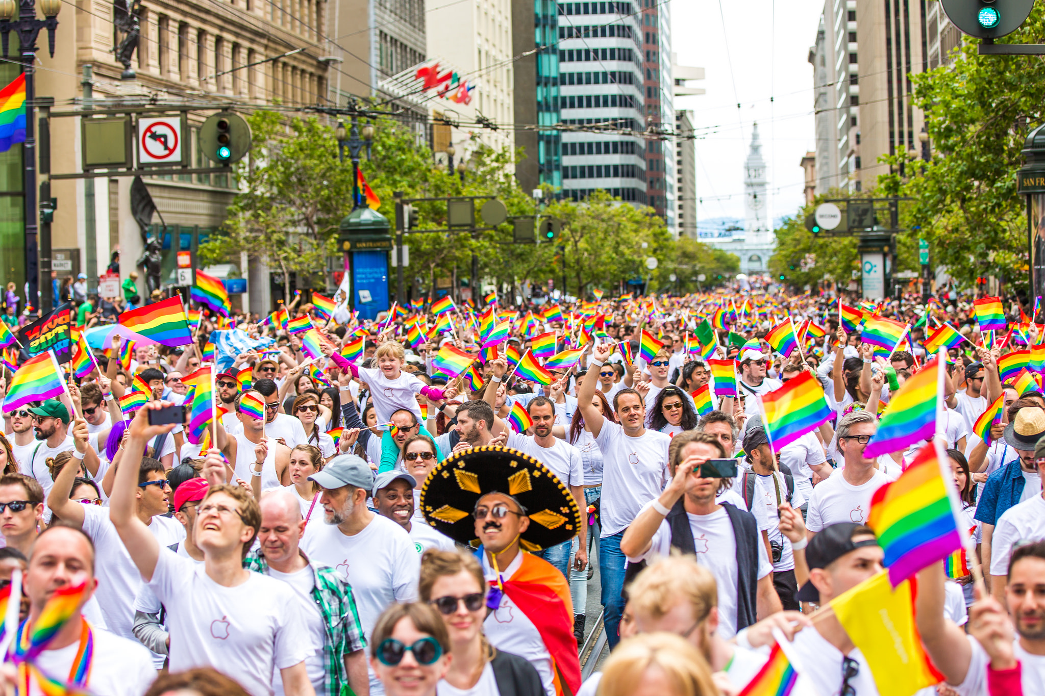 People marching at SF Pride Parade