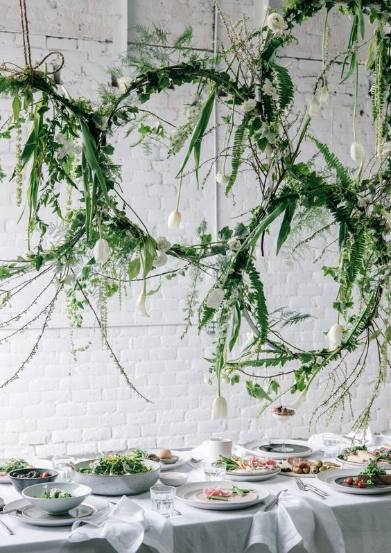 Leaf decor over dining table - nature inspired events
