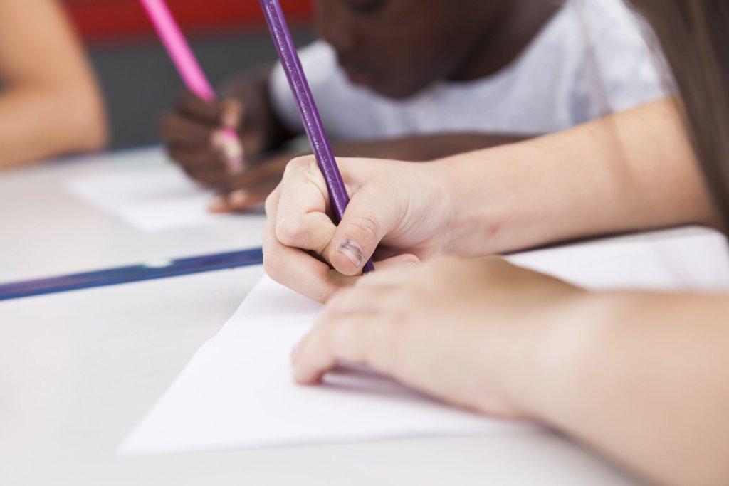 little kid writing