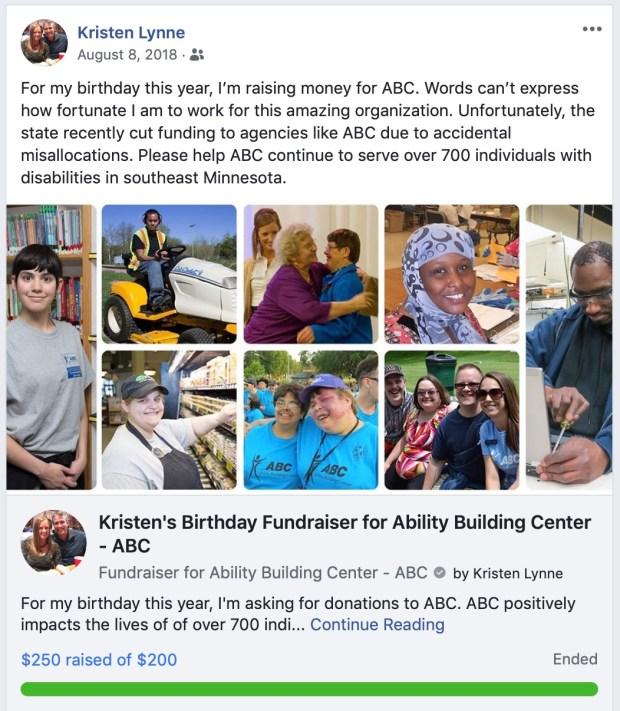 Kristen's Facebook fundraiser