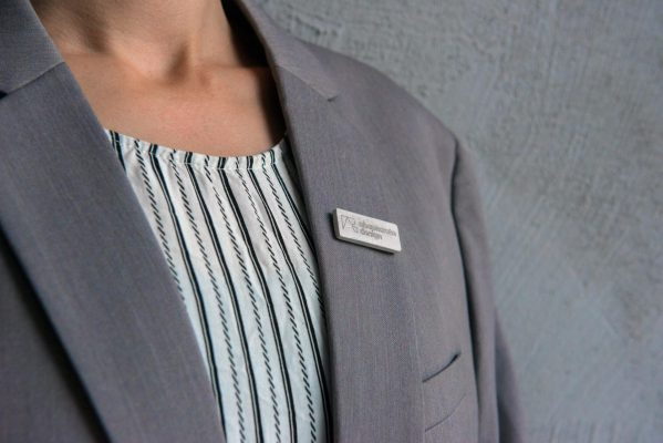 High end company pin with logo