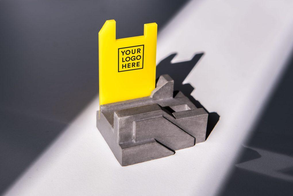 Concrete pen holder with logo