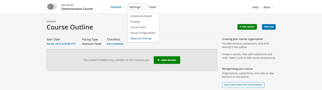 Open edX Studio Advanced Settings Menu
