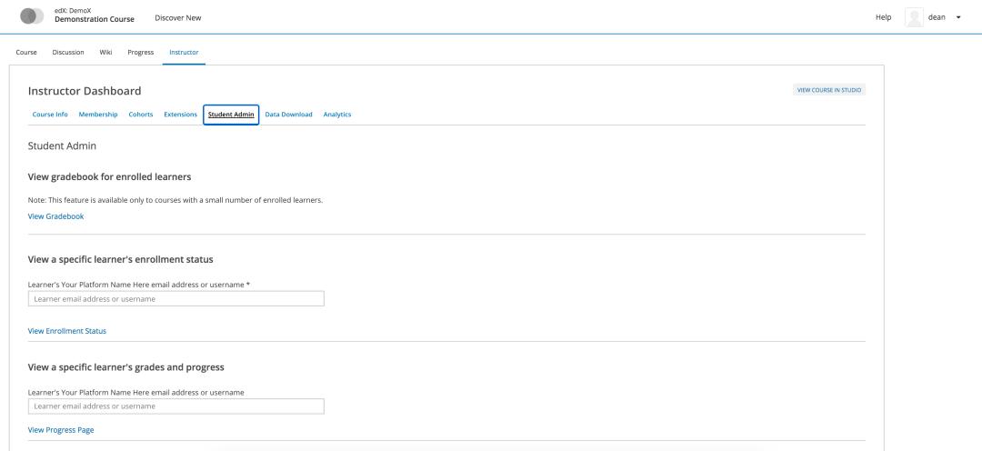 open edx instructor dashboard tutorial student admin