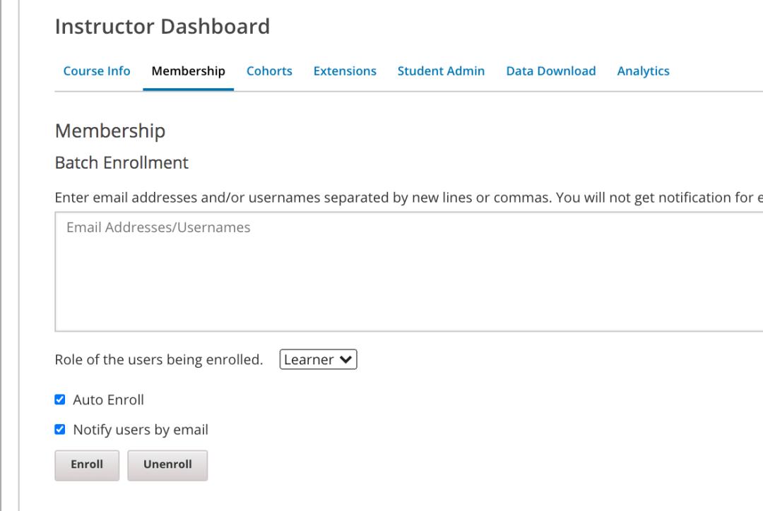 open edx tutorial instructor dashboard enrol learners