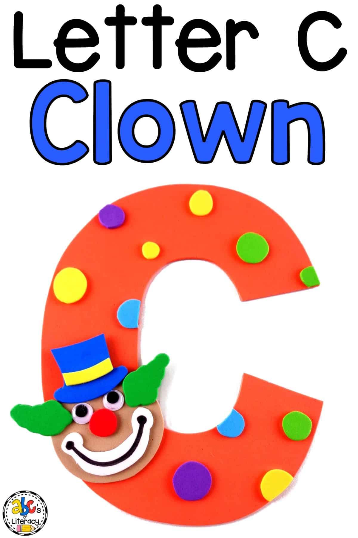 Letter C Clown Craft, Clown Craft, Letter C Craft, Letter of the Week, Letter of the Week Craft
