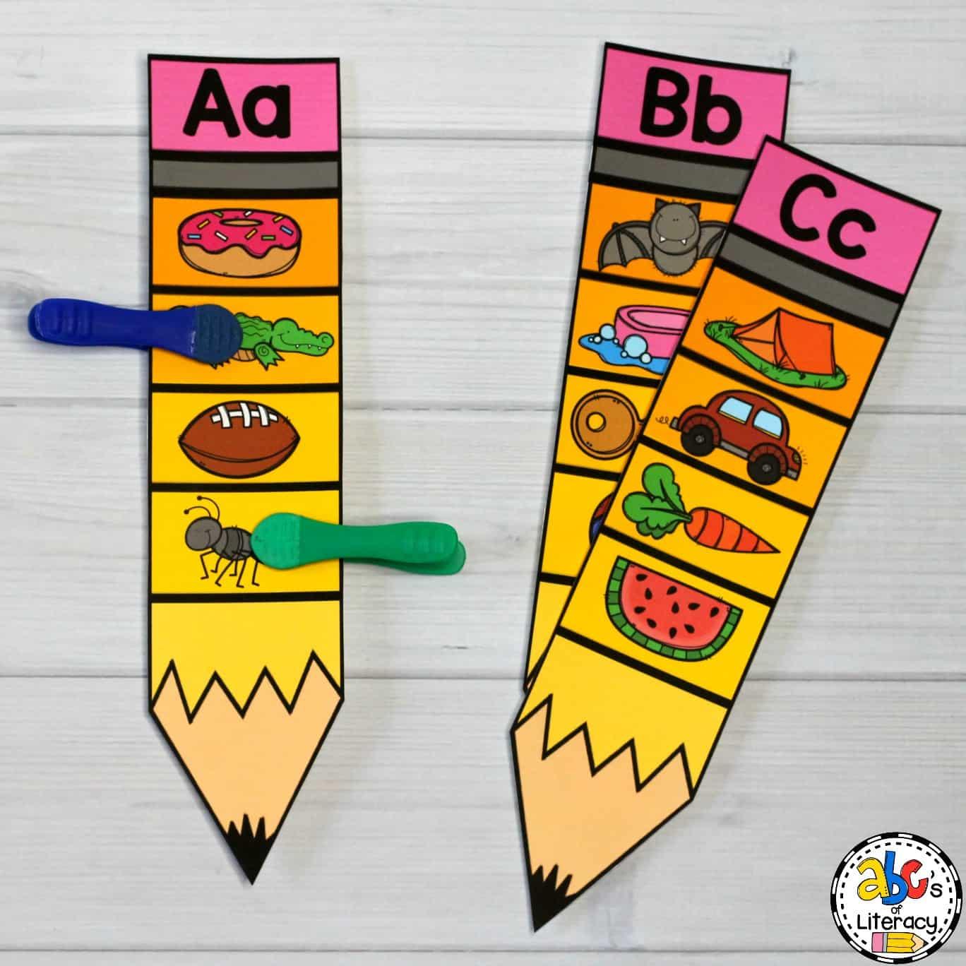 Pencil Beginning Sounds Clip Cards