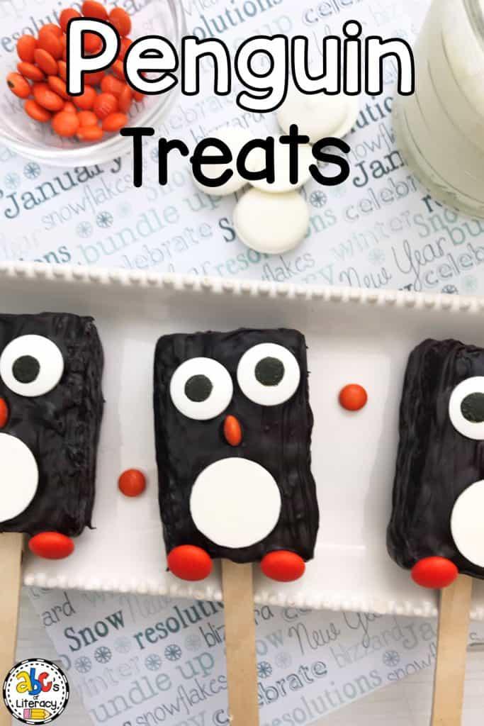 Penguin Rice Krispie Treats, Penguin Snacks, Penguin Treats, Snacktivities
