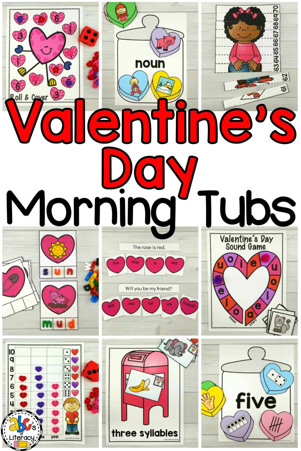 Valentine's Day Morning Tubs, Morning Tubs, Valentine's Day Activities, Valentine's Day Classroom Activities, February Morning Tubs, February Literacy Centers, February Math Centers, Valentine's Day Literacy Centers, Valentine's Day Math Centers