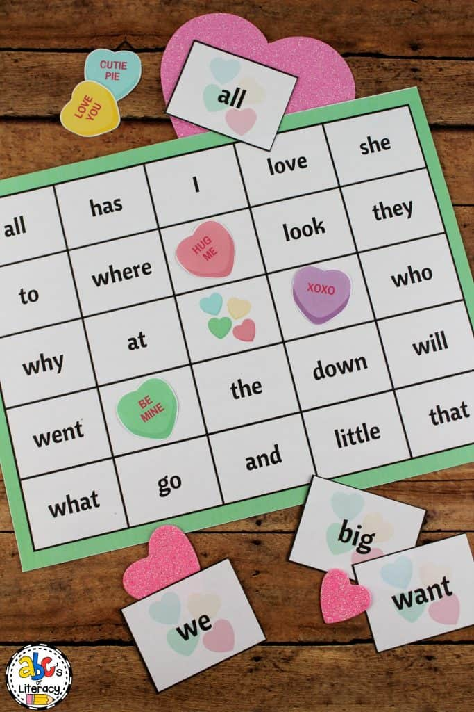 Valentine's Day Sight Word Bingo Game, Sight Word Bingo, Valentine's Day Activity, Valentine's Day Classroom Party