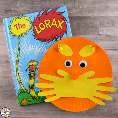The Lorax Inspired Hand Print Craft