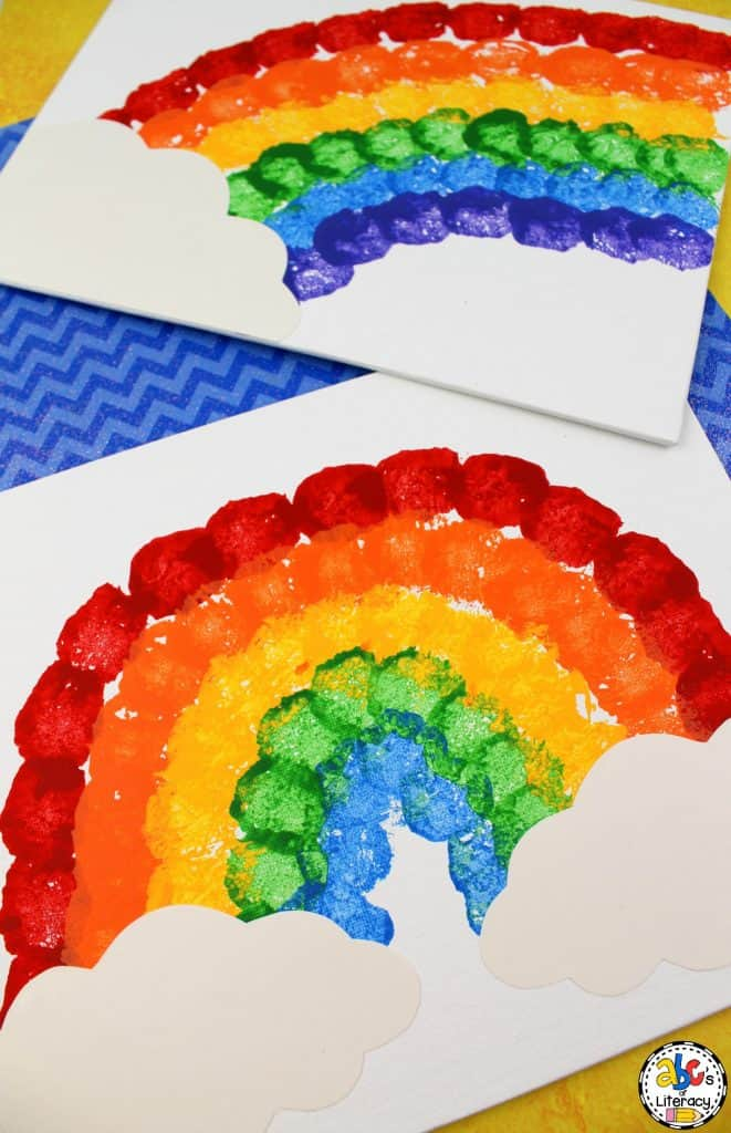 cotton ball rainbow painting craft, rainbow craft, rainbow painting craft, St. Patrick's day craft, Weather craft