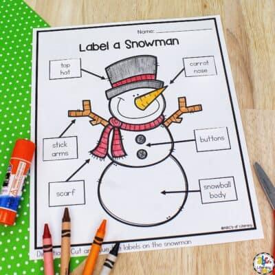 Label a Snowman Worksheet