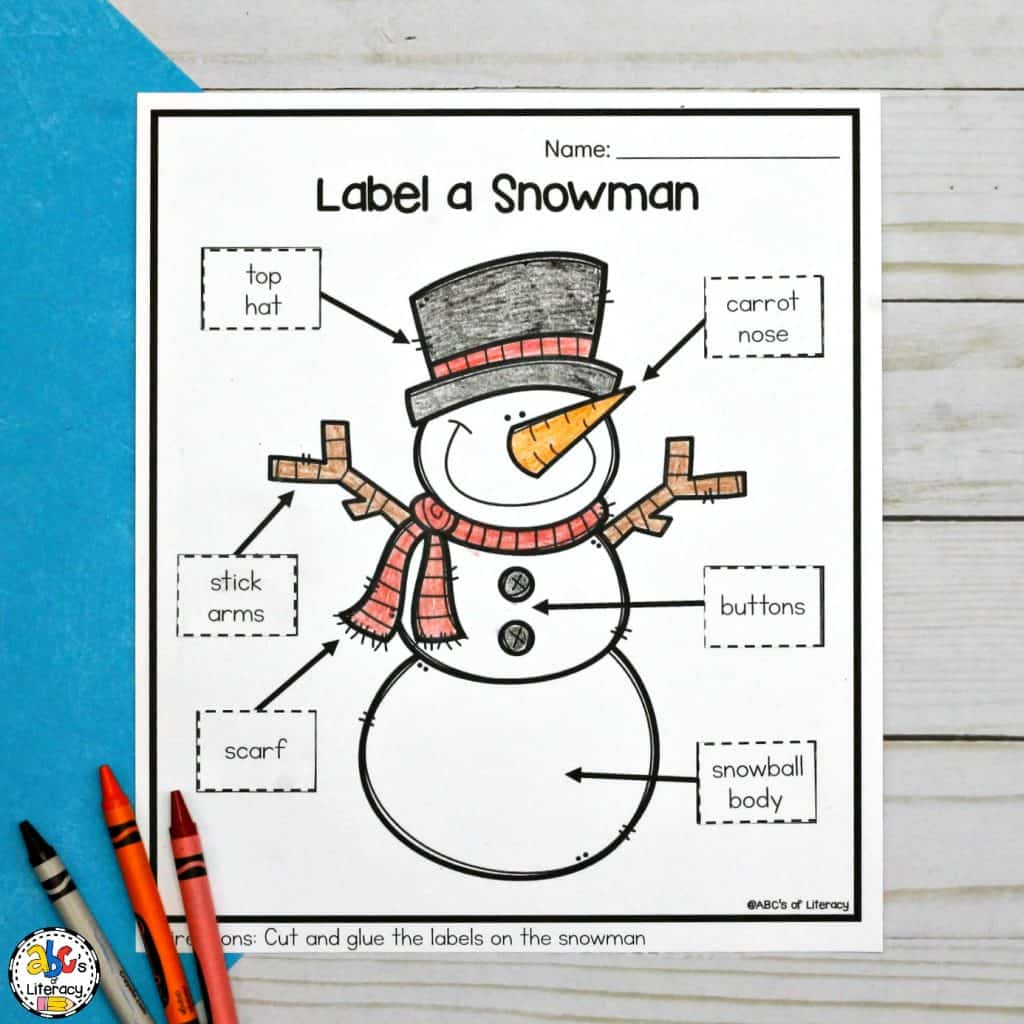 Kindergarten Worksheet Label Snowman