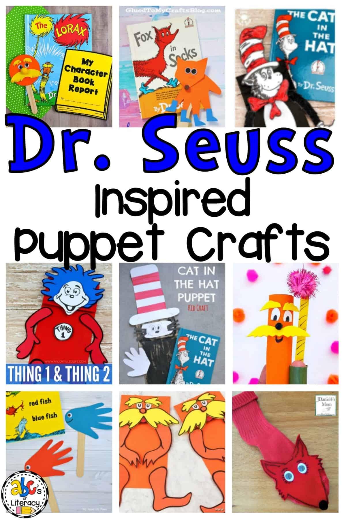 Dr. Seuss Inspired Puppet Crafts, Dr. Seuss, Dr. Seuss Crafts, Puppet Crafts, Reading Month Crafts