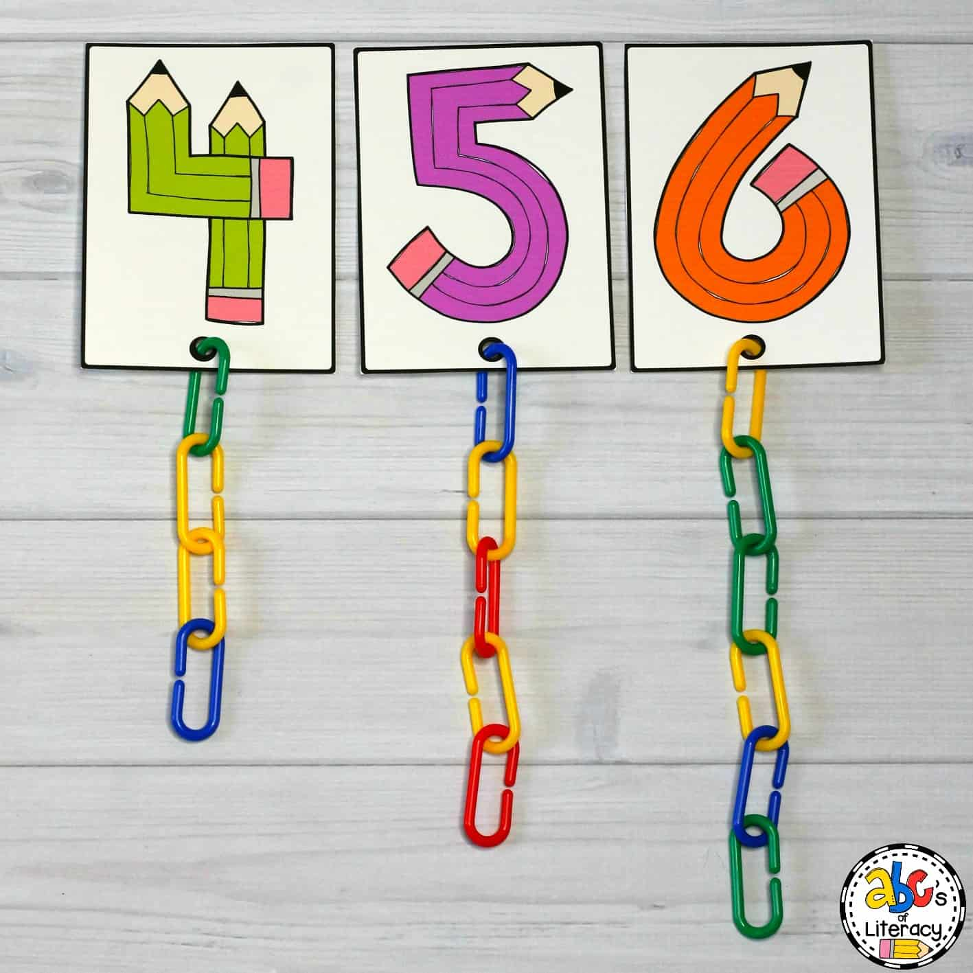 Connect Links Pencil Number Counting Cards