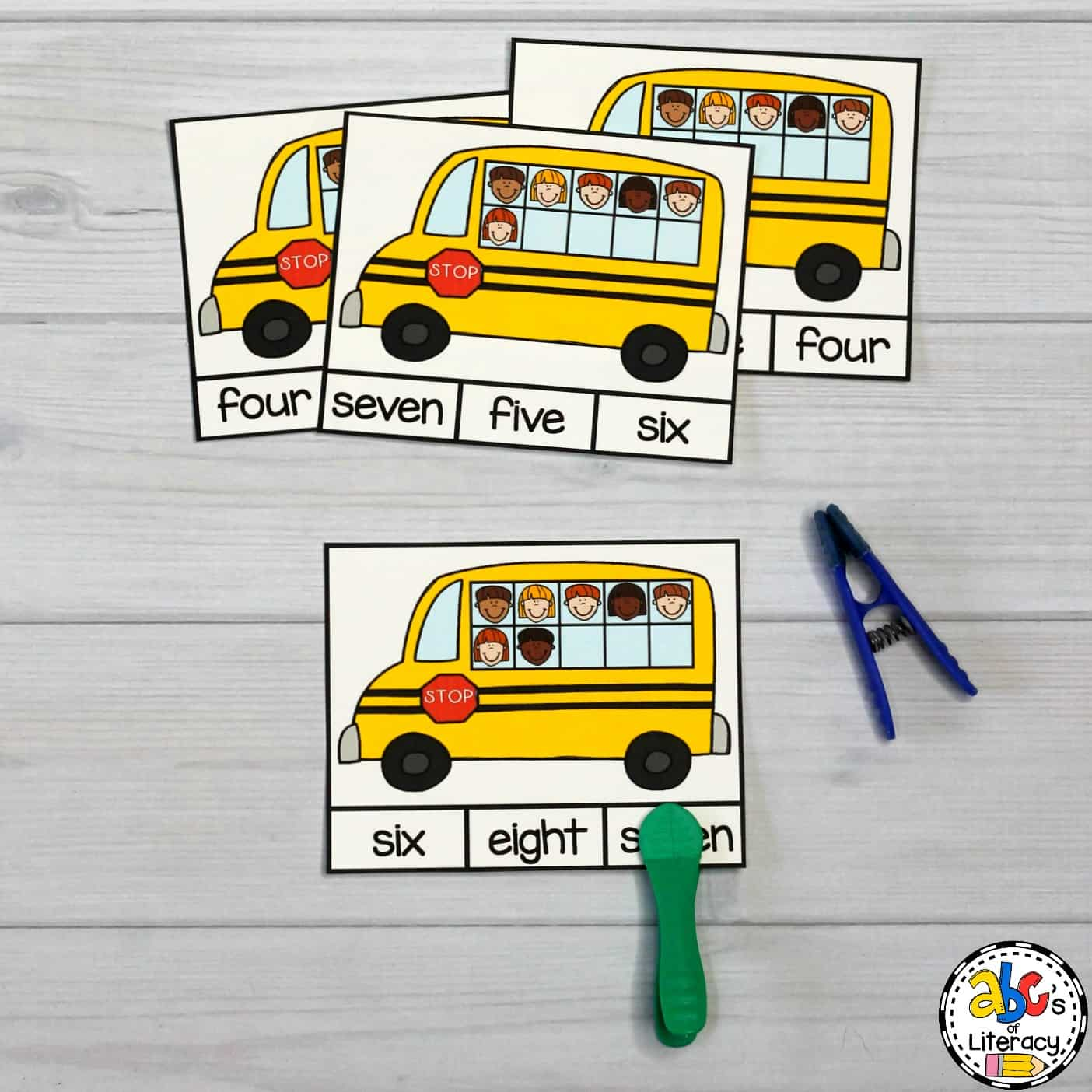 Bus Number Word Clip Cards