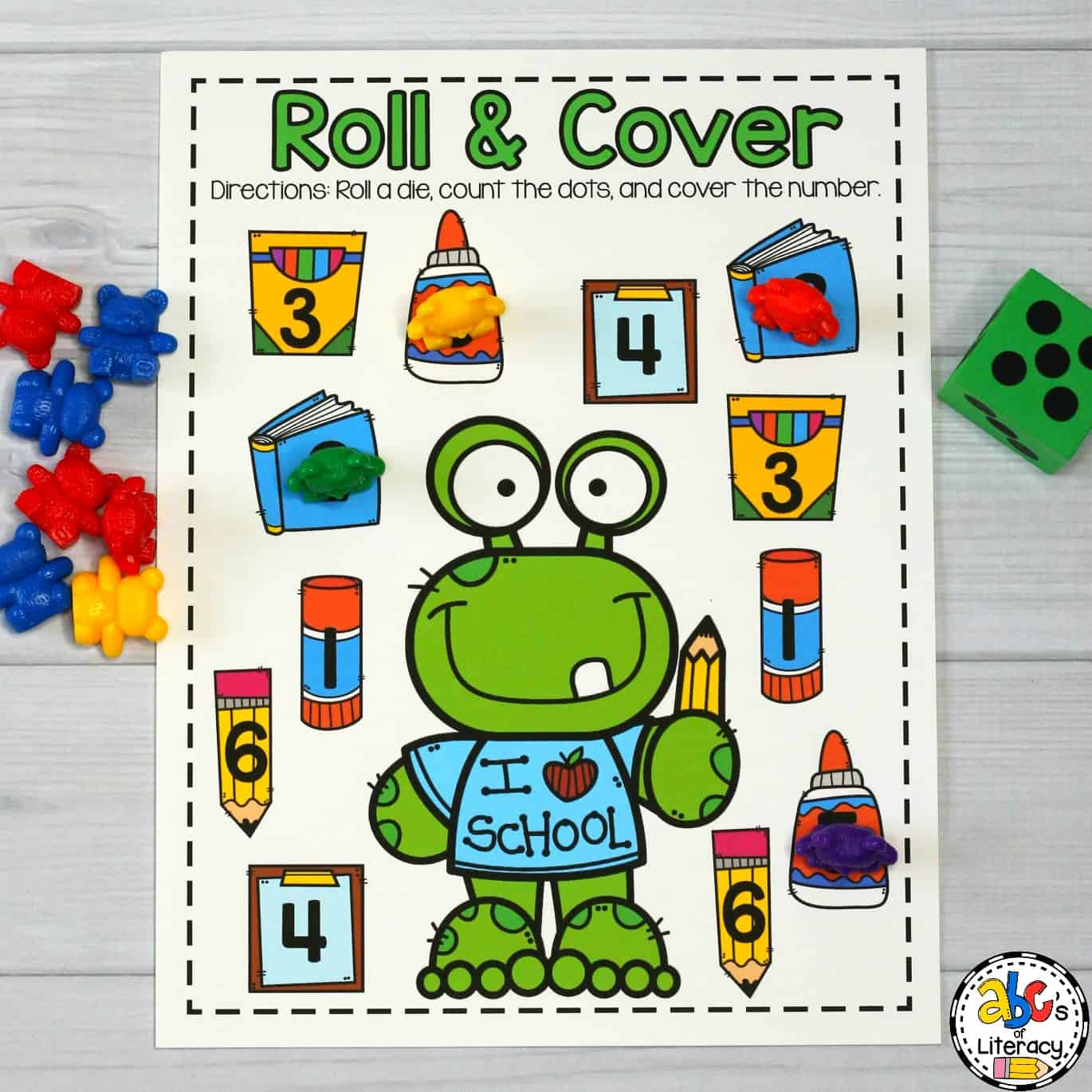 School Supply Roll & Cover Game