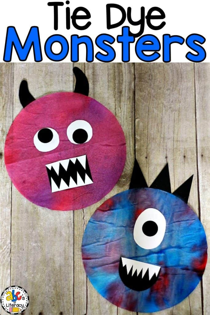 This Tie Dye Coffee Filter Monster is a super fun, process art activity for kids. Try making it with a group of children because no two monsters are alike.