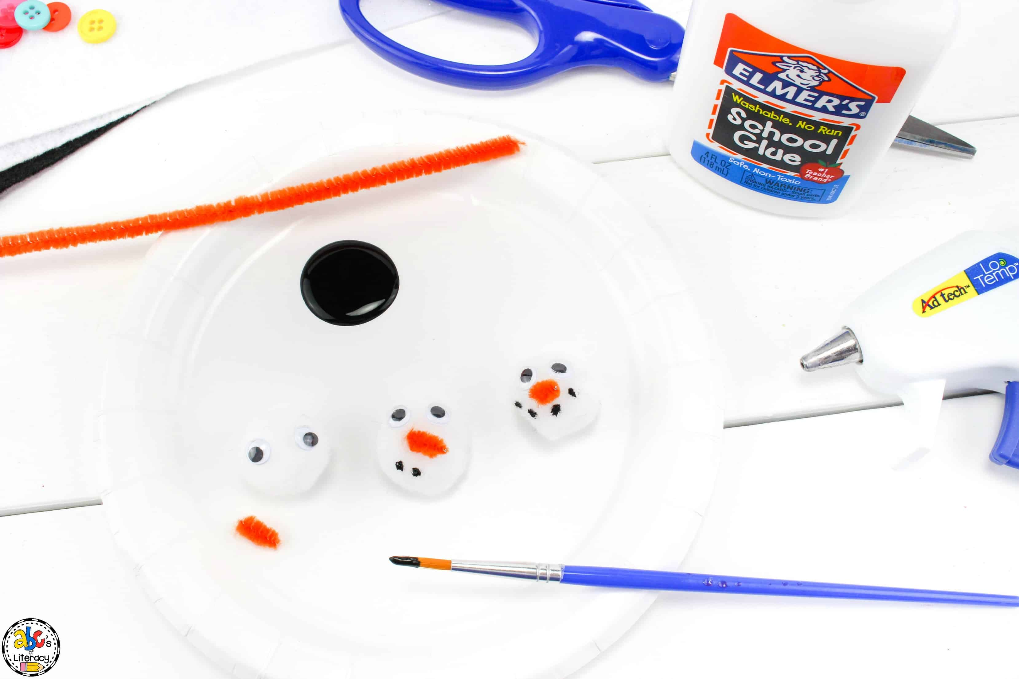 supplies needed for melted snowman craft