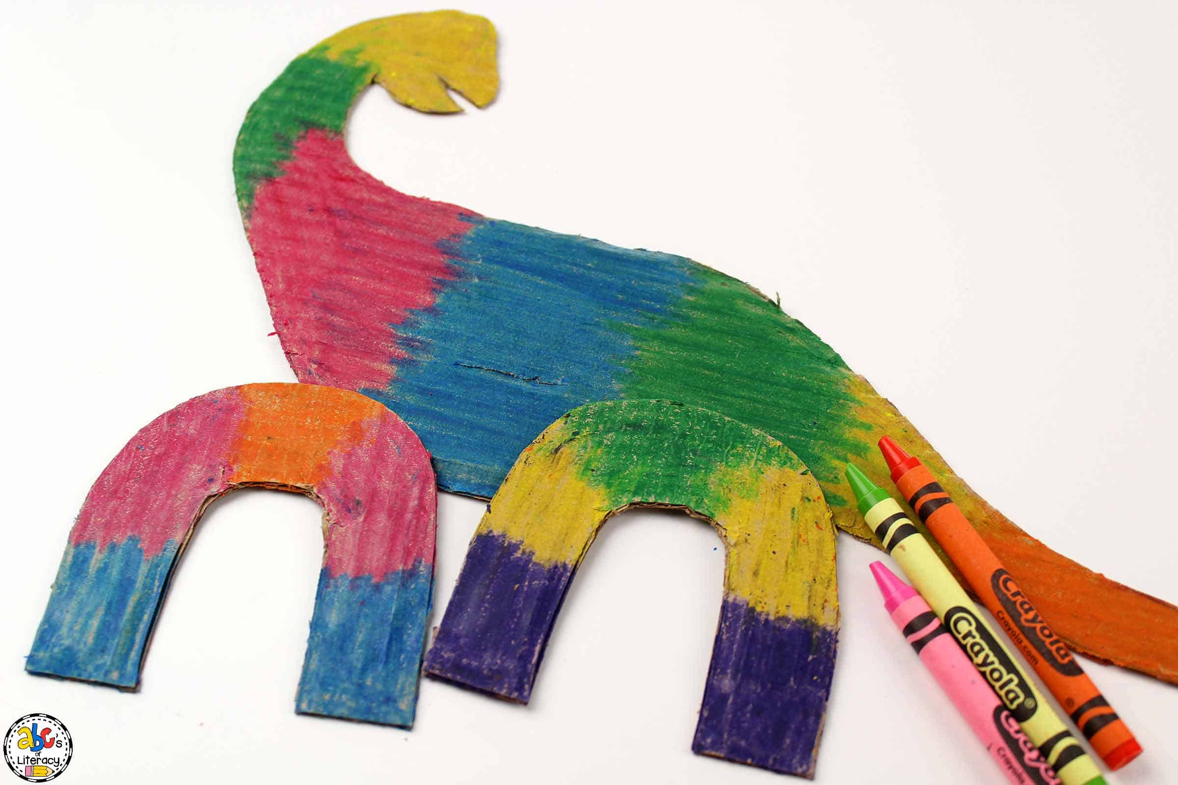 dinosaur scratch art colored in a wide variety of colors