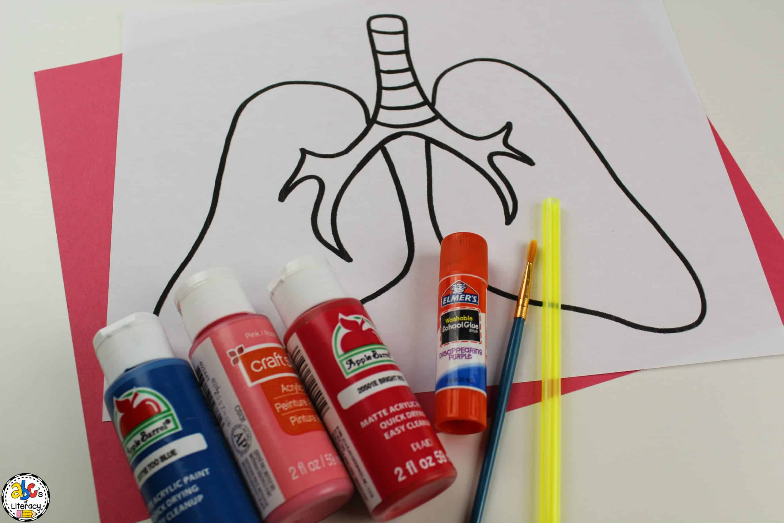 supplies needed for this Blow Painting Lungs Craft