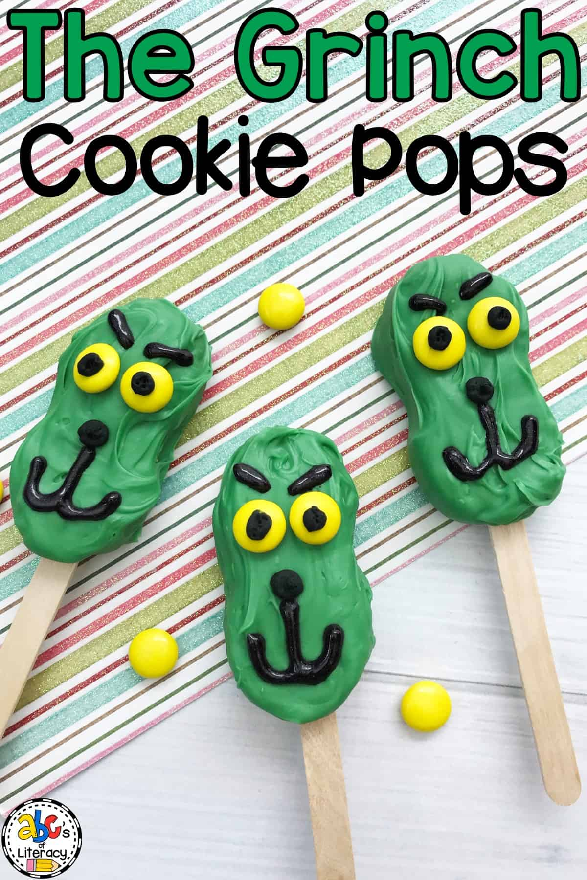 Grinch Cookie Pops for Dr. Seuss Day