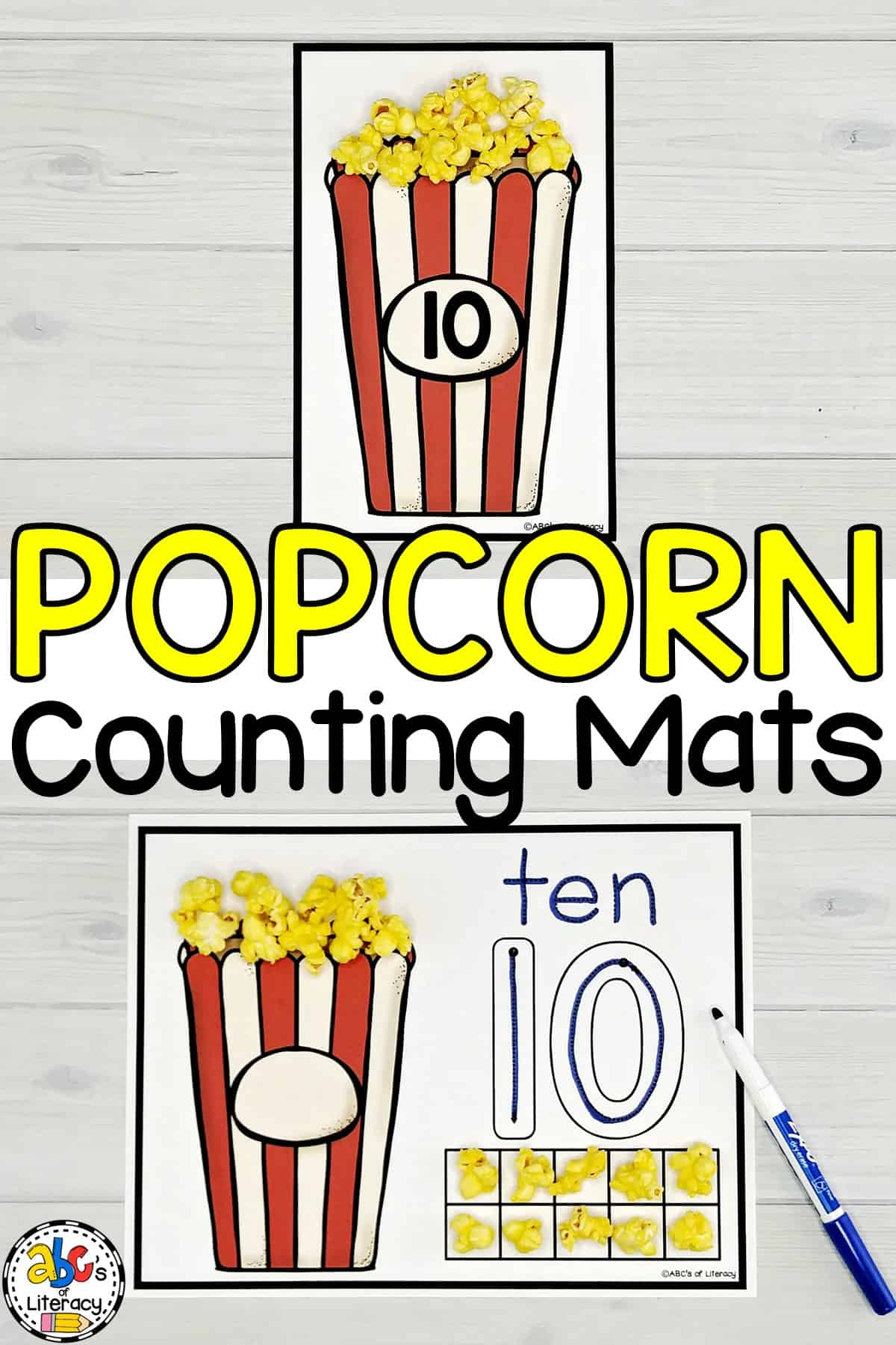Popcorn Counting Mats: Hands-On Math Choice Tubs