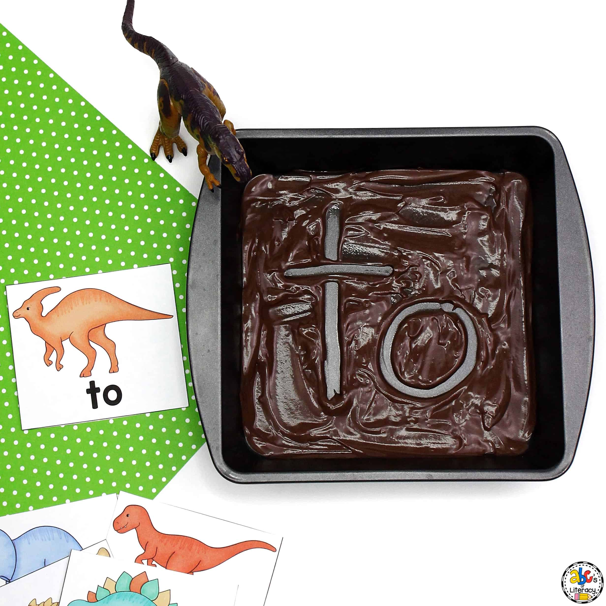 Dinosaur Mud Sight Word Writing Tray