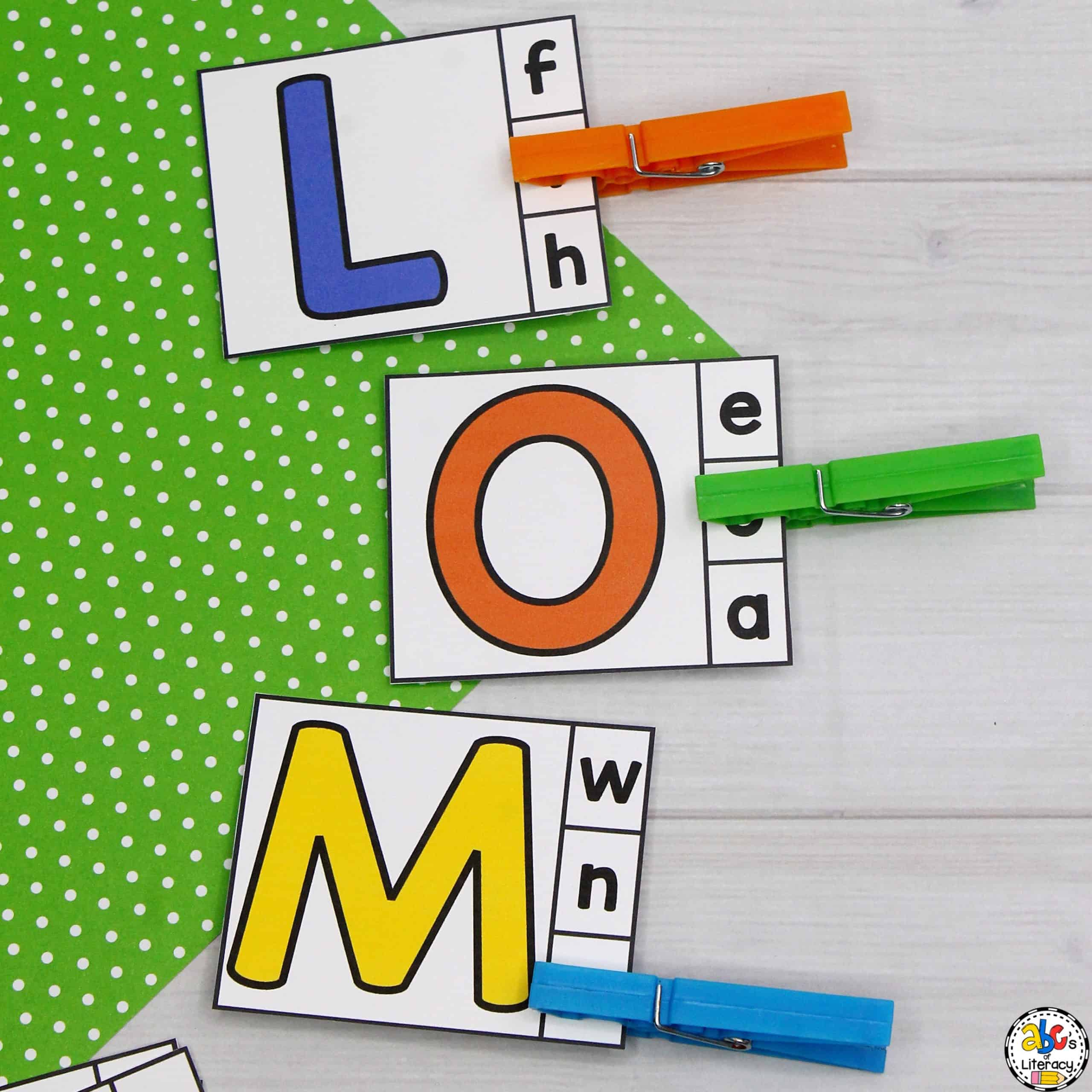 Capital Letters to Lowercase Letter Matching Clip Cards