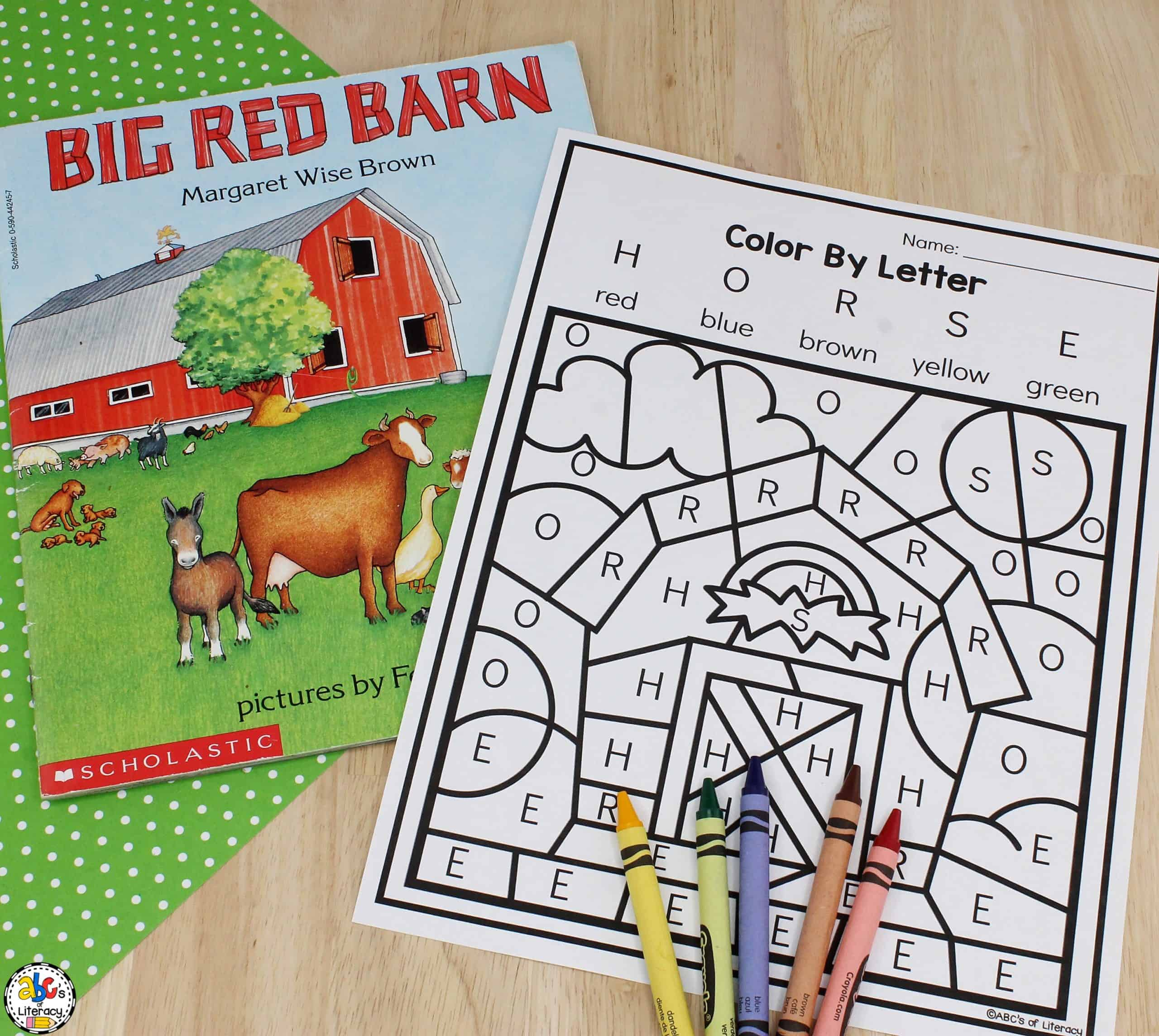 Barn Color By Letter Worksheet Letter Recognition Activity