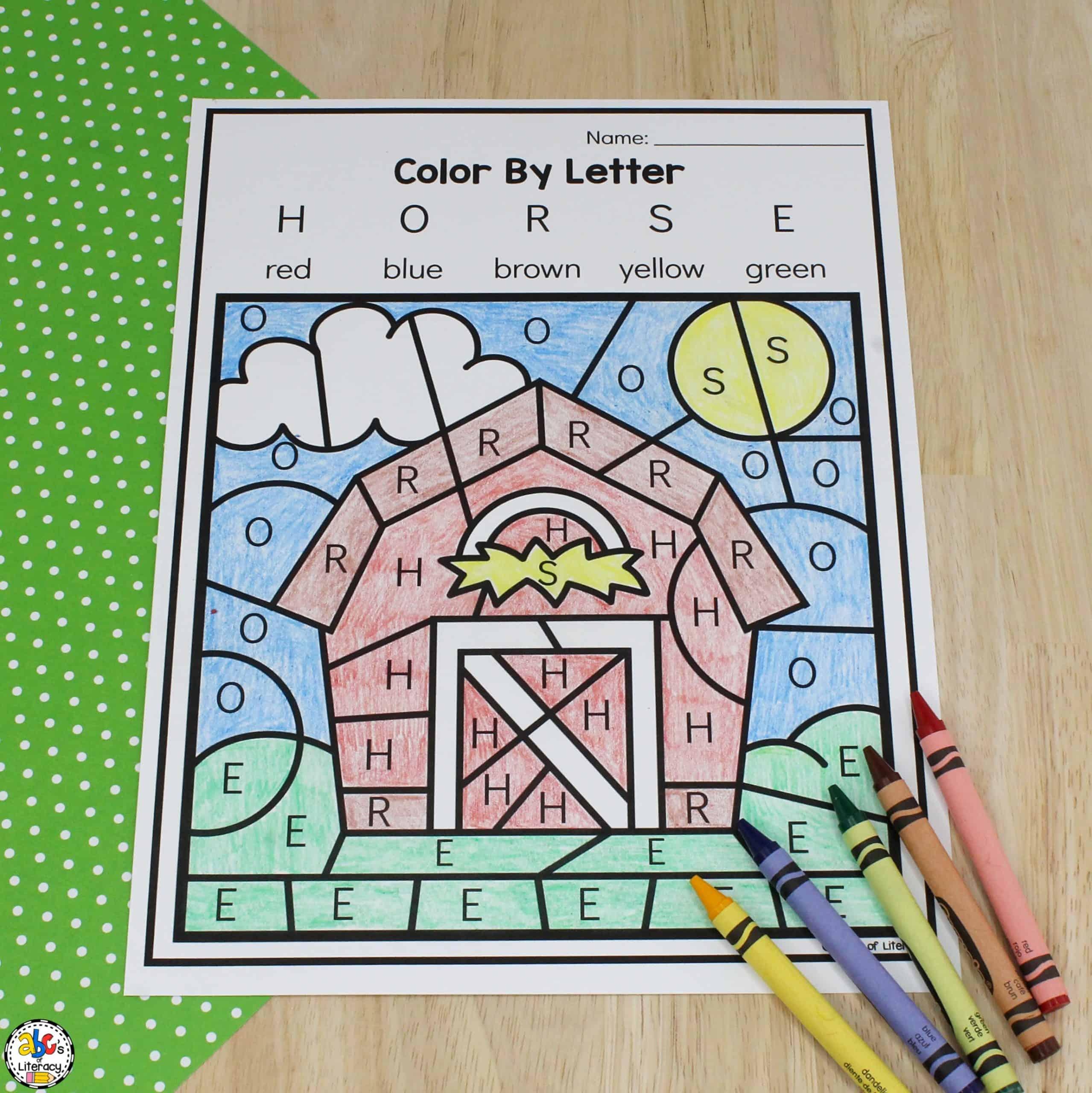 Barn Color By Letter Worksheet