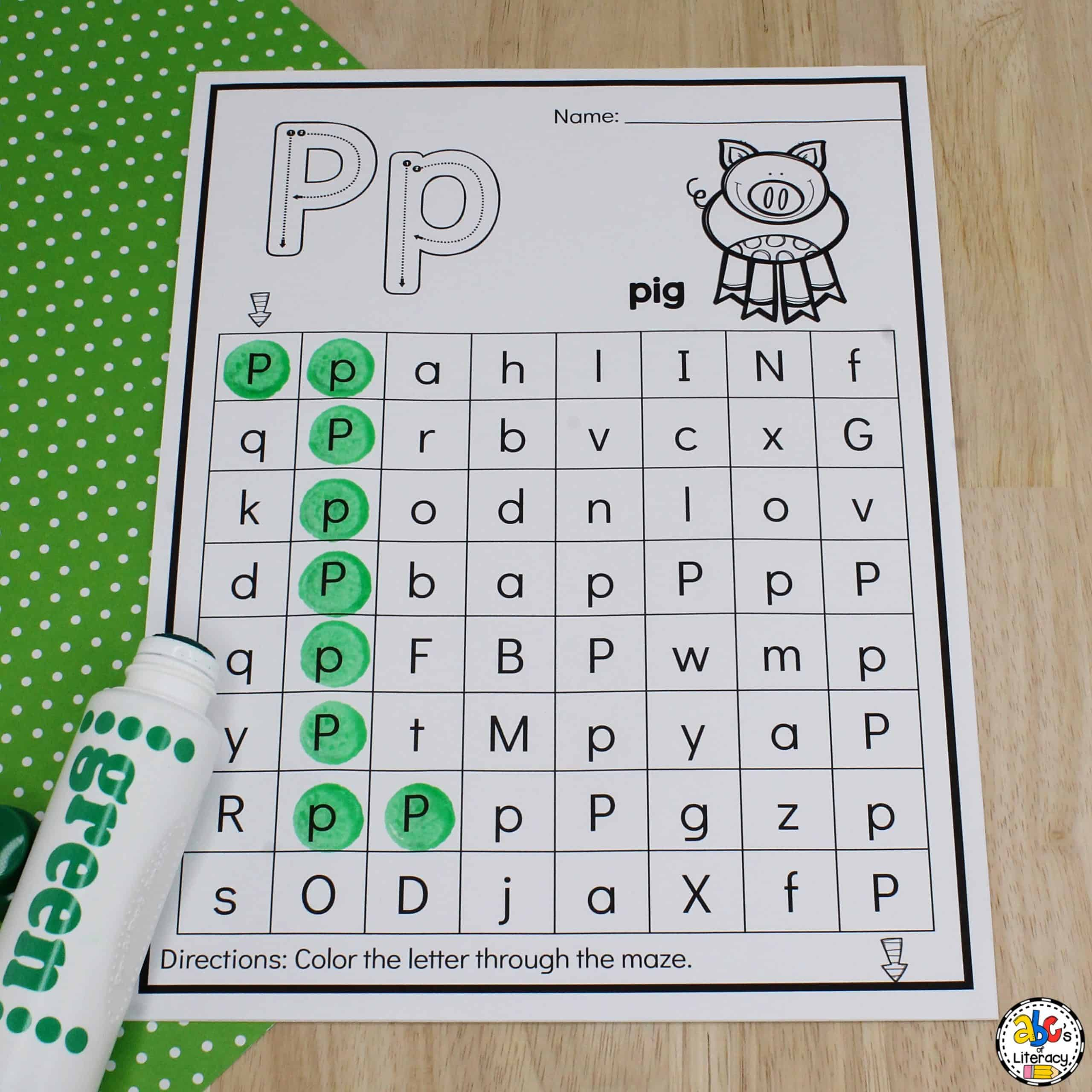 Farm Animal Letter Mazes Letter Recognition Worksheets