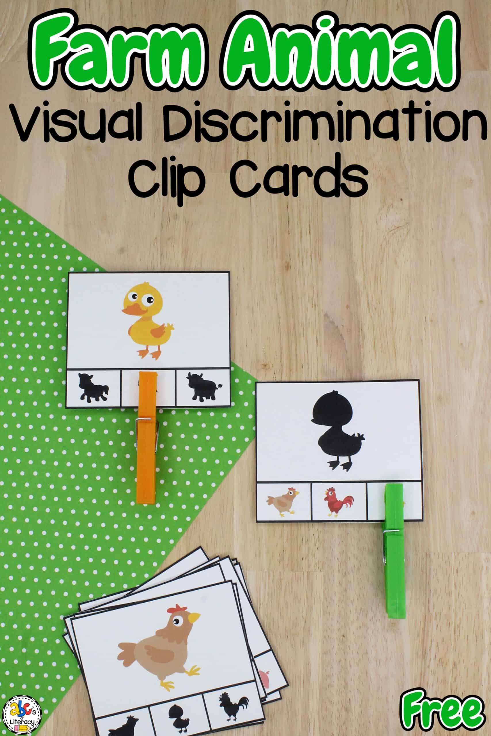 Farm Clip Cards for Preschool