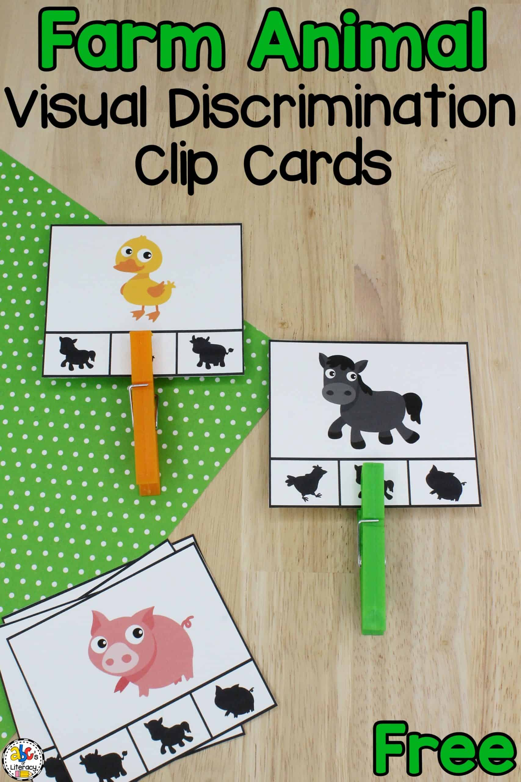 Farm Visual Discrimination Clip Cards