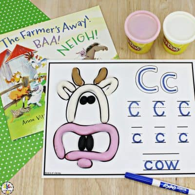 Farm Animal Play Dough & Letter Mats