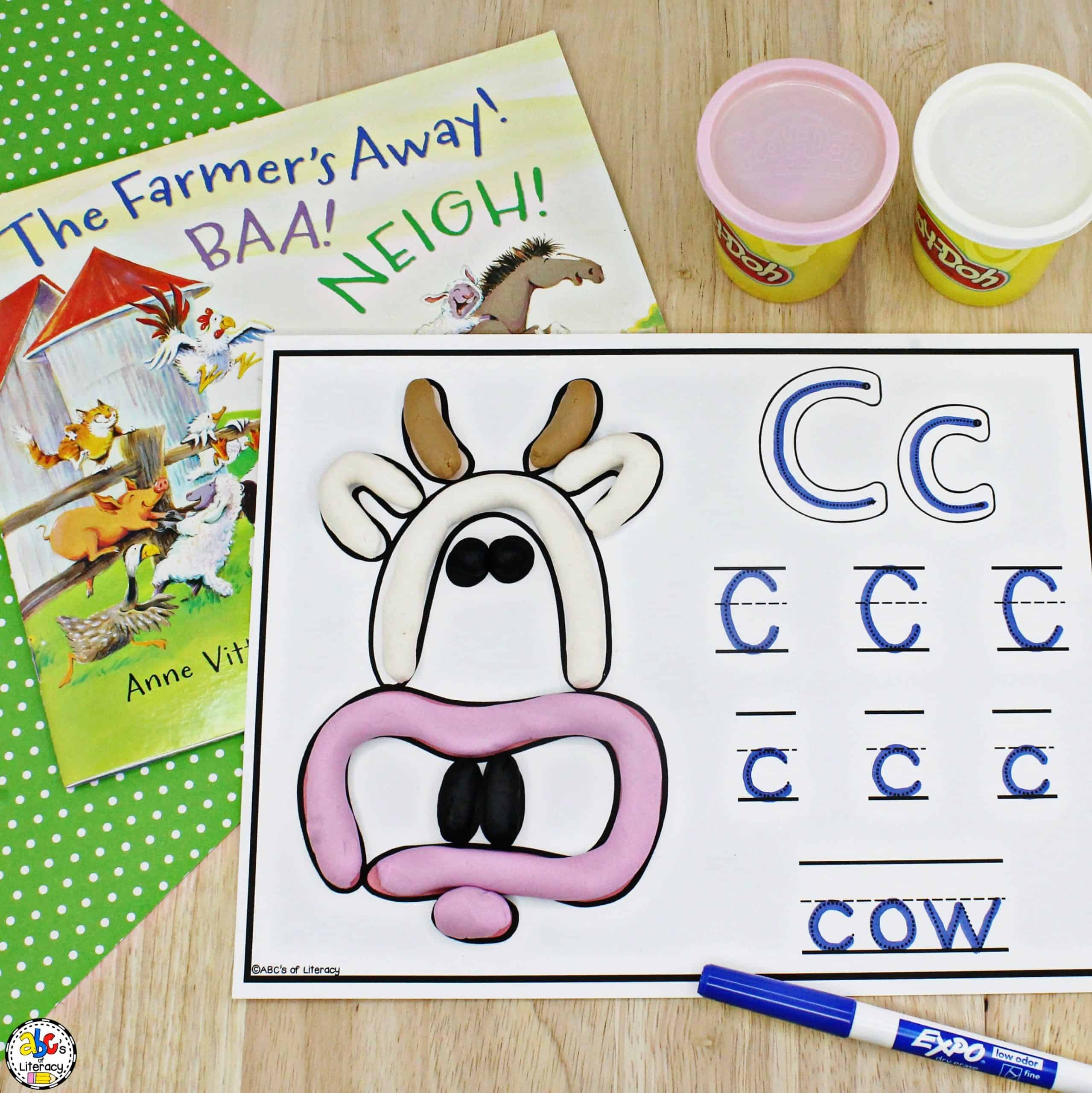 Farm Animal Play Dough & Letter Mats