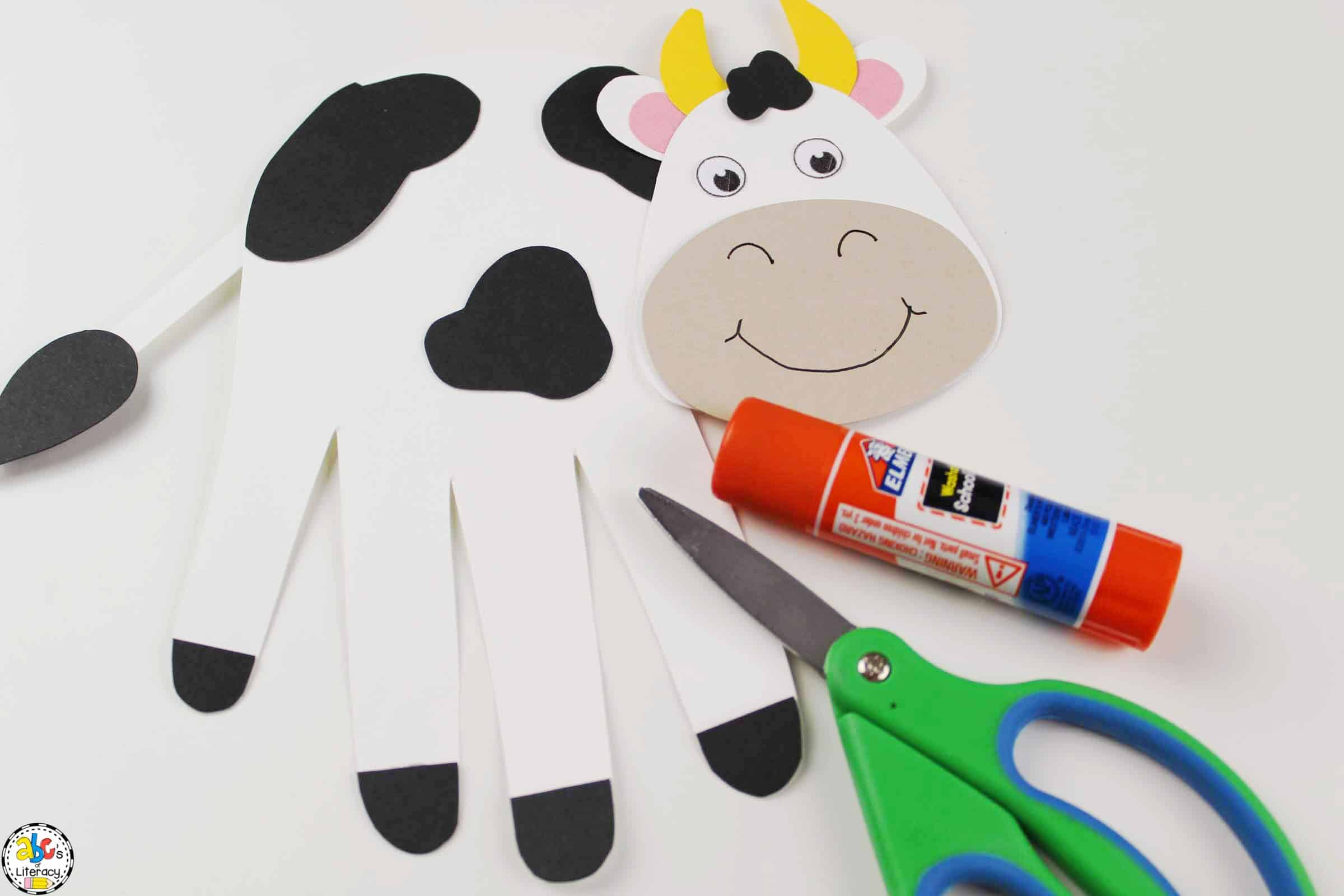 Glue The Hand Print Cow Craft Together