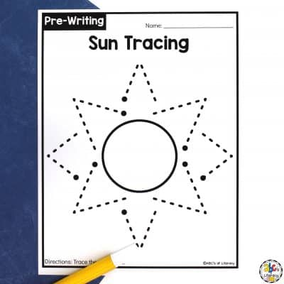 Sun Tracing Worksheets for Pre-Writing