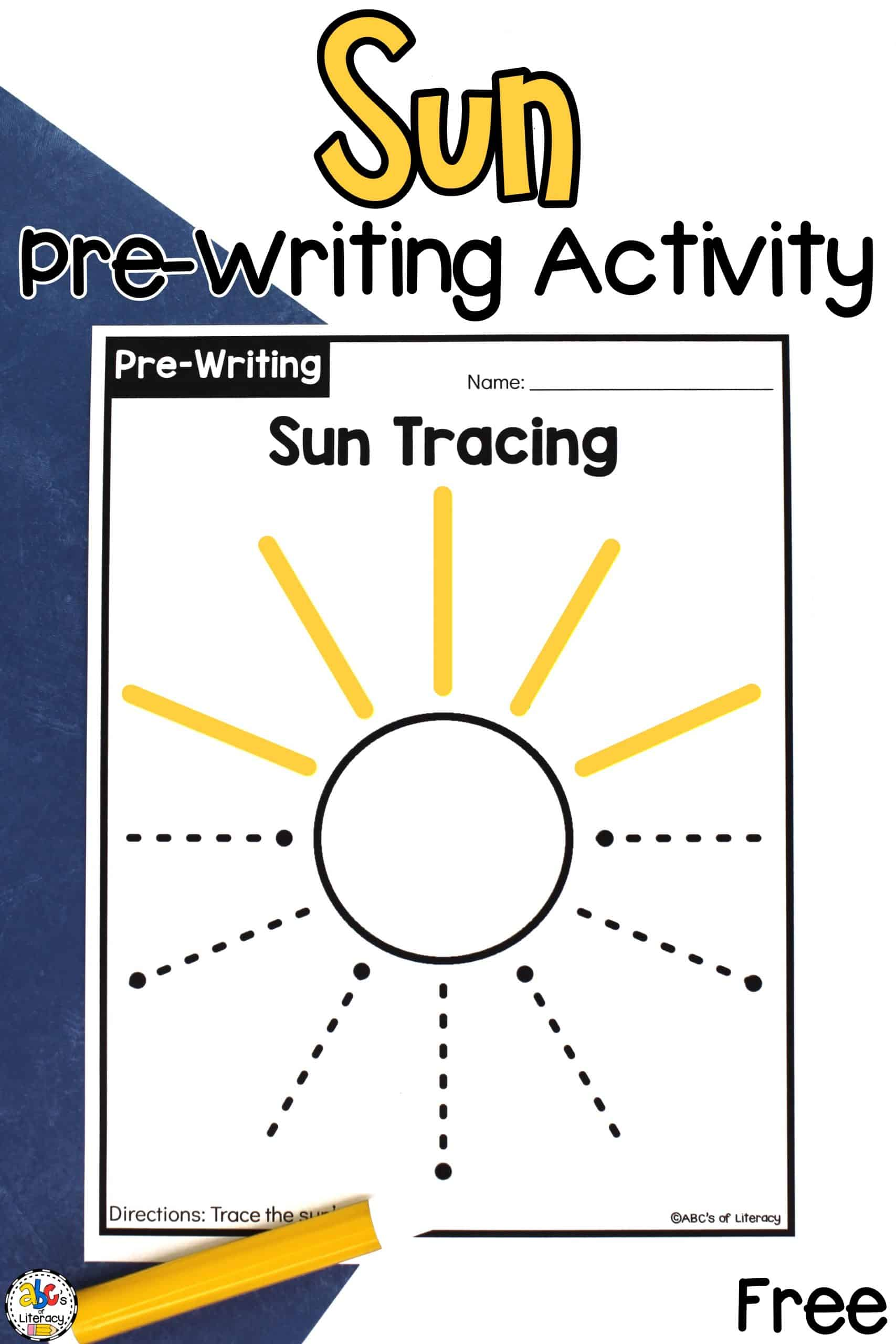 Sun Tracing Worksheets: Pre-Writing Activity