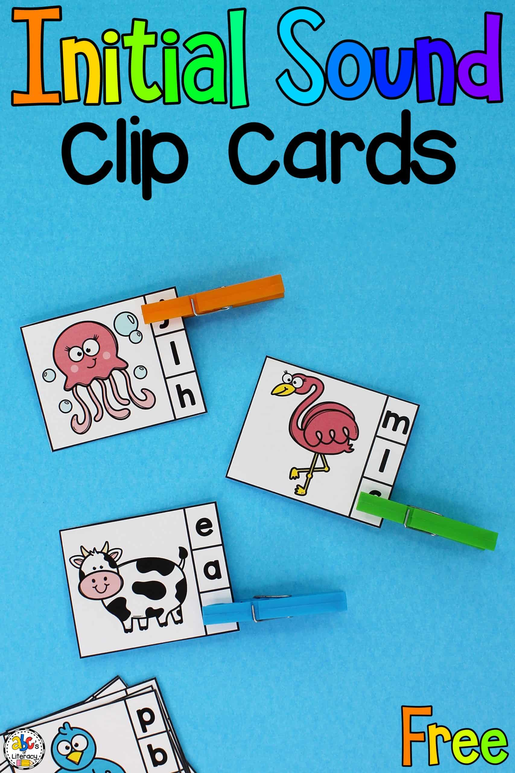 Animal Beginning Sounds Clip Cards