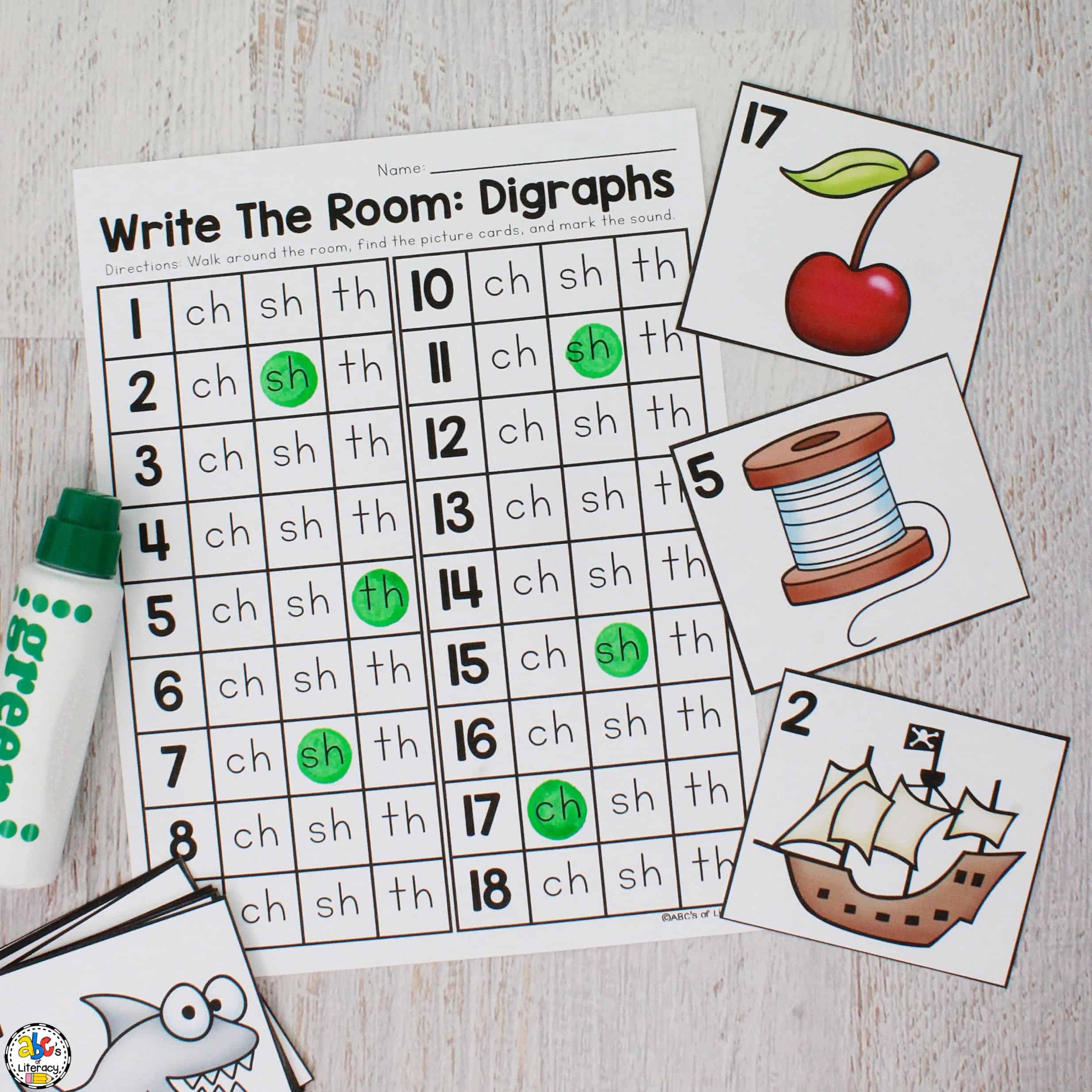 Beginning Digraph Write The Room Activity
