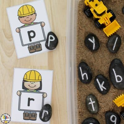 Construction Alphabet Sensory Bin