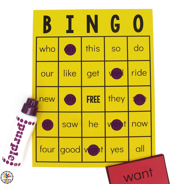 Kindergarten Sight Word Bingo Game