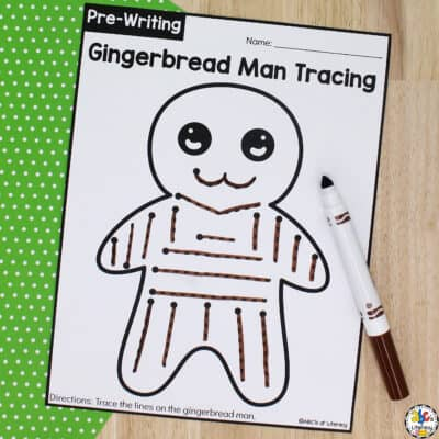 Gingerbread Man Tracing Worksheets