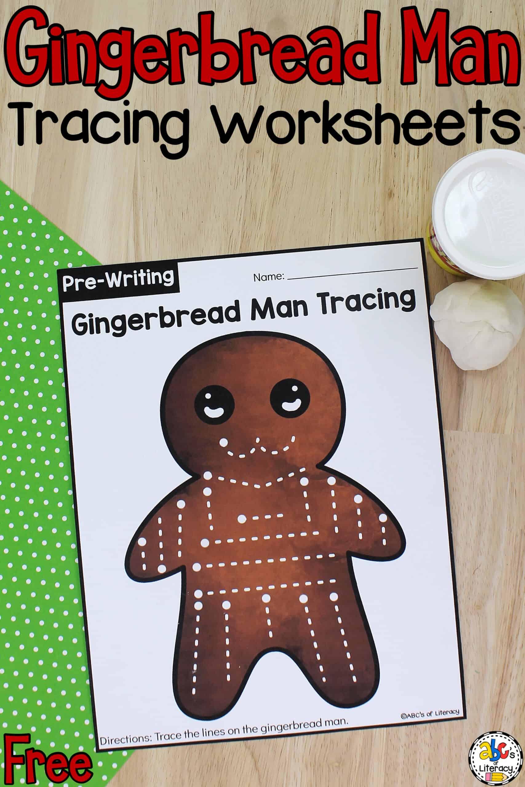 Gingerbread Man Tracing Worksheets