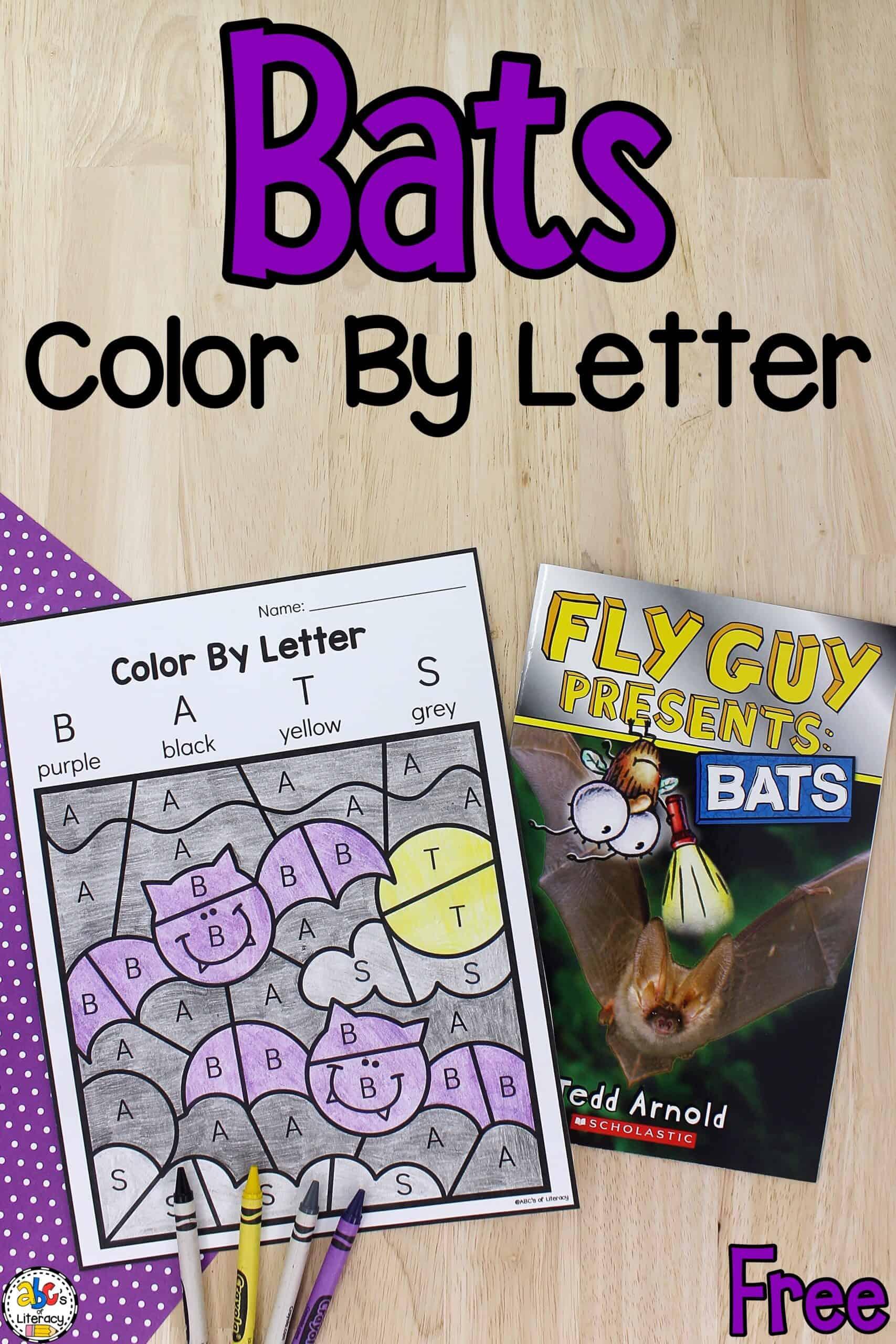 Bats Color By Letter Worksheet